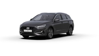 Front side view of the new Hyundai i30 Wagon in the colour Dark Knight Grey.
