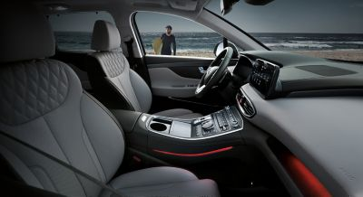 Interior view of the new Hyundai SANTA FE Plug-in Hybrid 7 seat SUV showing the cockpit.